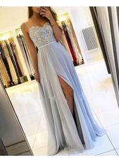 Silber Abendkleider #promdresses Sexy Silber Abendkleider Lang Chiffon | Abendkl…