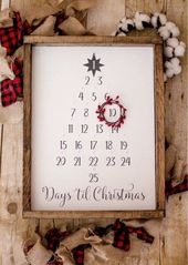 Christmas Advent Calendar | Hand painted shield | Rustic Sign | Chris …