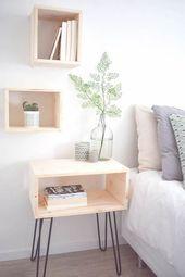 Beste 25+ Nachttisch Ideen für kleine Räume