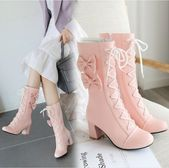 New lolita sweet lace bow high boots