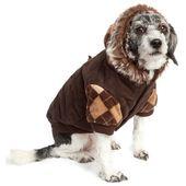 Pet Life Designer Patterned Removable Hood Cotton Pet Sweat Jacket (Large), Brown