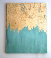 Gold Blatt Petrol Malerei | Gold-Blatt-Malerei | Moderne Kunst | Abstrakte Malerei