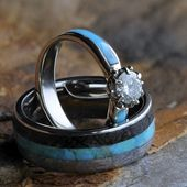Turquoise Wedding Ring Set, Moissanite Lotus Engagement Ring, Wedding Band With Meteorite and Dino Bone