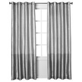 Threshold™ Banded Faux Silk Curtain Panel – Silv…