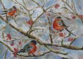 Photo of Dompfaffen auf schneebedeckten Ästen Grußkarte zum Verkauf von Katia Iourashevich Ricci