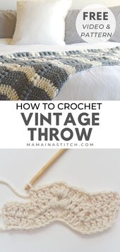 Chunky Crochet Throw -Step By Step Video & Pattern