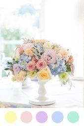 Paleta de colores matrimonios en Verano: Arcoíris pastel