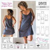 Raven Cami Chemise Slip Dress Sewing Pattern (PDF)
