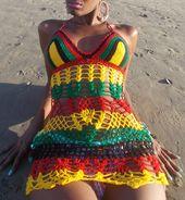 Women/'s Rasta Dreams Crochet Bikini Beach Top-Rasta-One Size-40206
