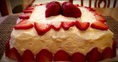 4. Juli weißer Kuchen mit Erdbeerglasur und stabilisierter Schlagsahne. Es…