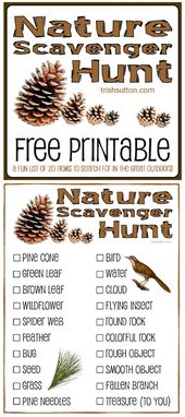 Nature Scavenger Hunt; Free Printable for Children by