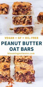 Chocolate Peanut Butter Oat Bars | Vegan, GF, Oil-Free, Refined Sugar-Free