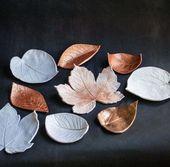 Schöne und sehr einfache Bastelschalen aus Blättern und Ton – Beste Dekoideen