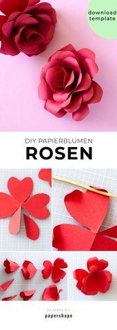 DIY Rosen basteln aus Papier: Anleitung mit Vorlage #bastelnmitpapier #papierros…