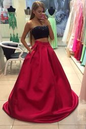 Prom Dress Boho, 2019 Prom Dresses Sweetheart Satin With Beading Bicolor Two Pieces Newark Bridal   – Homecoming Gowns