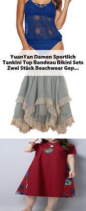 YuanYan Damen Sportlich Tankini Top Bandeau Bikini Sets Zwei Stück Beachwear Ge… – Kleid