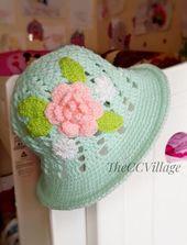 Crochet baby hat, crochet panama hat, baby girl Hat, baby shower, for toddlers, newborn hat, Crochet cloche hat with white flower – Patrones de sombreros de ganchillo