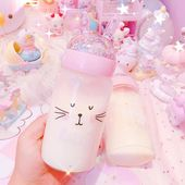 Kawaii Unicorn and Bear Glass Water Bottle PN1053