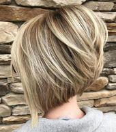 40 der schönsten Bob Frisuren mit Graduierung (hinten kurz, vorne lang) – Damen Haare –  – #Kurzhaarfrisuren –  – #Kurzhaarfrisuren