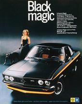 Werbung für den Opel Manta Black Magic im Jahr 1974   – Opel