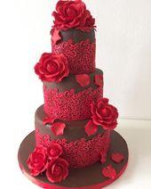 Schokolade und rote Rosen von Monica Liguori – cakesdecor.com / … #laceweddingcakes  – cakes