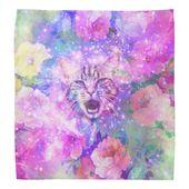 Girly Kitten Cat Romantic Floral Pink Nebula Space Bandana | Zazzle.com