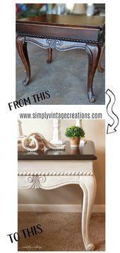 Vintage End Table Makeover – SimplyVintageCreations.com  – Best White Refinished Furniture