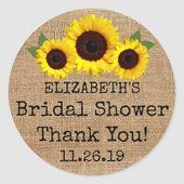 Sunflowers On Burlap Fall Bridal Shower Favor Classic Round Sticker | Zazzle.com