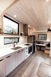 This Adventure-Ready Tiny House Has a Mud Room and Fold-Down Deck – Dwell #gesta… – Zimmerdecke