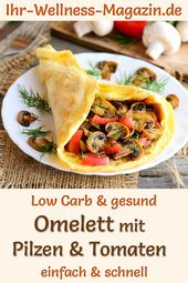 Omelette with mushrooms and tomatoes – healthy low-carb recipe for breakfast   – Low Carb Frühstück – Rezepte