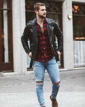 Herbstmode für Herren. Leder Bikerjacke + Karohemd + Blue Jeans. Besuchen Sie ur … – Mens outfits
