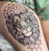 Löwe Ich glaube nicht, dass ich jemals so ein tolles Löwentattoo gesehen habe.