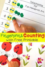 Fingerprint Counting Printables für den Frühling