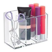 mDesign Small Adhesive Makeup Cosmetic Storage Organizer, Pack of 3