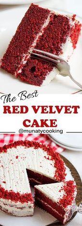 Roter Samtkuchen Rezept. Ein feuchter Kuchen mit Buttergeschmack und Sie können einen Hauch schmecken … – #butte …   – Birthday Cupcake Ideen