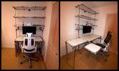 Fantastischer Schreibtisch nach Maß mit Ausstellmöglichkeiten und zusätzlichen Regalen. DIY