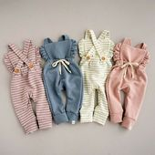 Baby Girl Backless Striped Ruffle Romper Overalls Jumpsuit – Baby girl clothes