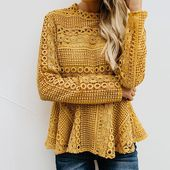 Lace long sleeve hollow top 12