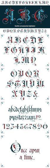 Gotisches dekoratives Alphabet