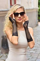 """Great Gatsby, longs gants sans doigts en dentelle noire, bracelet de tatouage gothique de 11 """"(28cm), gants de Raynaud, gantelets, fille mori, gants pour femmes   – Black Lace gloves"""