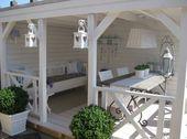 Romantic veranda in country style. Cozy retreat in the garden of fü