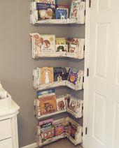 Ideal für kleine Babyzimmer! DIY Pallet Board Bücherregal   – Alma