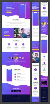 Wavy Mobile App Landing Page — Themes & Templates on UI8 #app #landing #mobile…