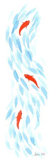 Three Koi – Watercolor 3.5×10 Print