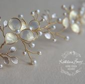 Gold Champagne Bridal hair vine iridescent pearl leaves, Gold white pearl Wedding hair accessory STYLE: Tiffany