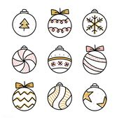 Download premium vector of Christmas baubles drawing doodle style 512341