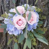 Brautjungfer # Brautjungfer # Hochzeit # rosa blau # Hortensie #Eukalyptus # …   – hortensien