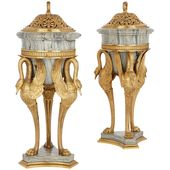 1stdibs Vase – Two Antique Style Gilt French Empire Ormolu, Marble, Bronze