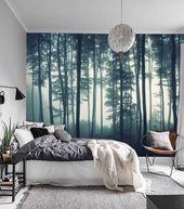 Misty Forest Fototapete Abnehmbare, Fototapete Wald, Wald Wallpaper Peel und Stick Natur, Wald Wandbilder für Fototapete Baum, # 64