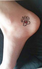 Niedliche kleine Hund Paw Print Fuß Tattoo-Ideen für Frauen – Pata Impresió… – #Frauen #für #Fuß #Hund #Impresió